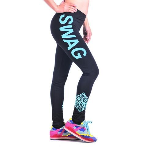 S-XL Women's Printed Work Out Knitted Sport Fitness Gym Stretch Slim Black Leggings