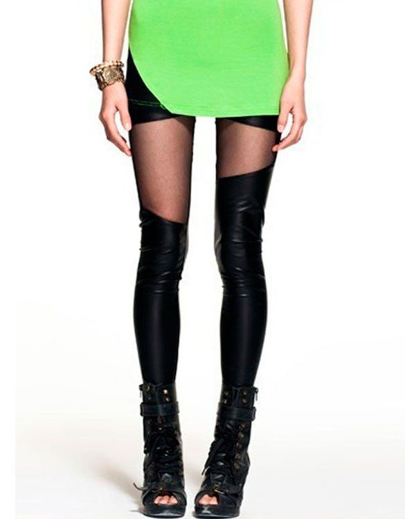 Black Faux Leather Spliced Mesh Leggings