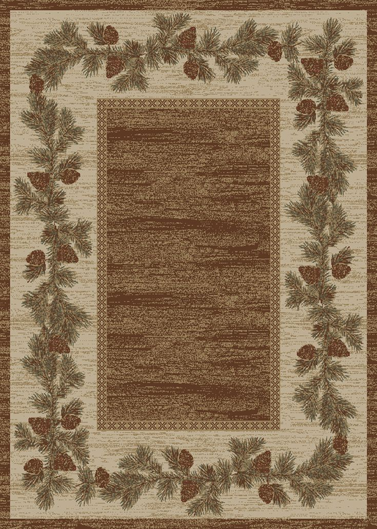 """Dean Mountain View Rustic Pine Cone Lodge Cabin Ranch Area Rug Size: 5'3"""" x 7'3"""" - Dean Stair Treads"""