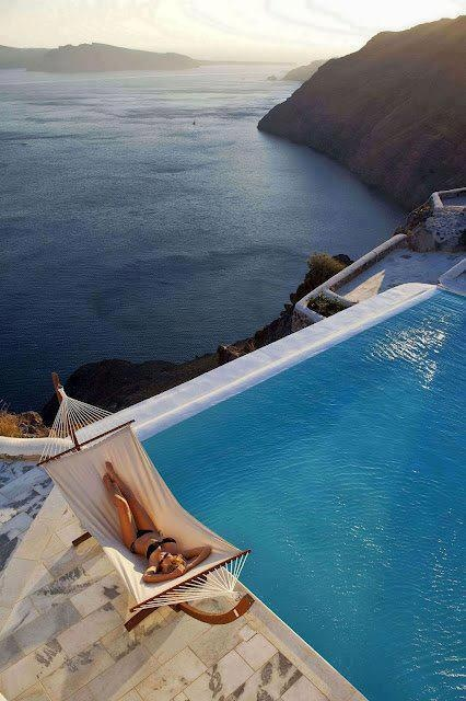 yes! I need to be her!: Dreams Home, Santorini Greece, Swim Pools, The Ocean, Coastal Living, Places, Enjoying Life, Ocean View, Infinity Pools