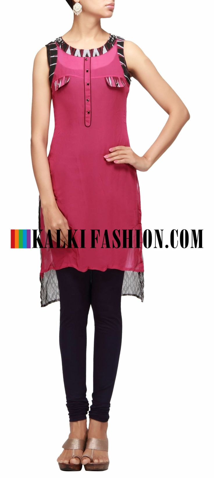 Buy Online from the link below. We ship worldwide (Free Shipping over US$100) http://www.kalkifashion.com/pink-kurti-highlighted-in-print-and-center-placket.html Pink kurti highlighted in print and center placket