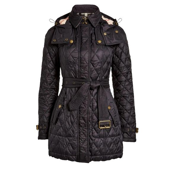 Burberry Long Finsbridge Belted Quilted Hood Coat Checked Jacket Jackets Quilted Jacket