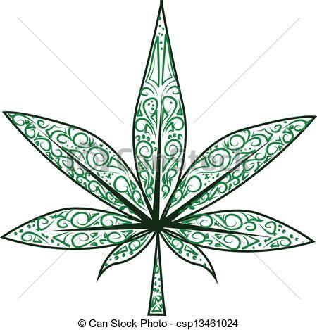 Vector Illustration Of Marijuana Leaf Vector Isolated