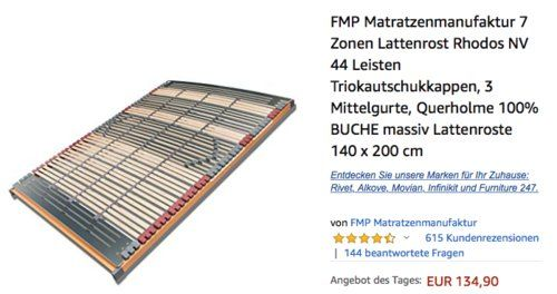 Fmp Matratzenmanufaktur 7 Zonen Lattenrost Rhodos Nv 140x200 Cm Lattenrost Latte Kuche Und Haushalt