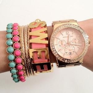 LovesFashion, Sweets, Wrist Candies, Bracelets, Rose Gold Watches, Michael Kors Watches, Accessories, Arm Candies, Arm Parties