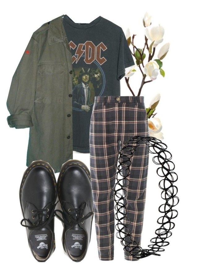 ACDC, plaid pants, army-look button up, black choker necklace, and instead of regular black Doc Martens-like shoes, they'd be boots