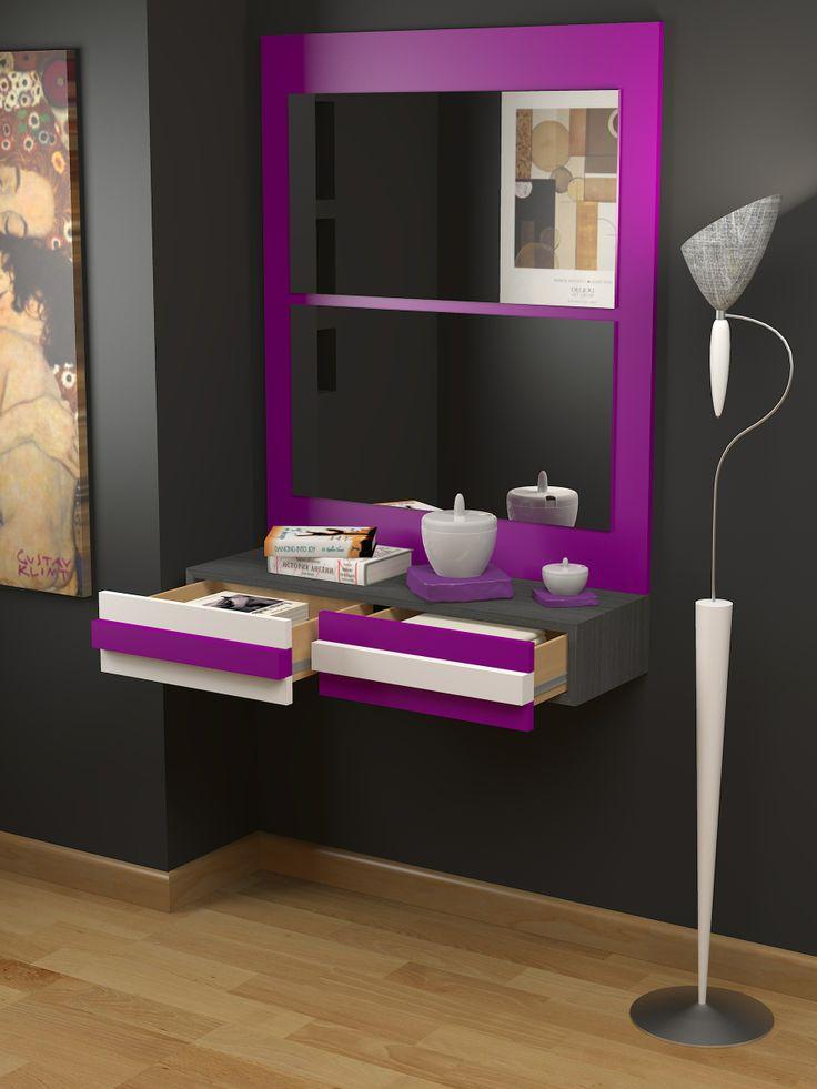 Recibidor a medida moderno acabado mixto lacado colores - Colores para recibidores ...