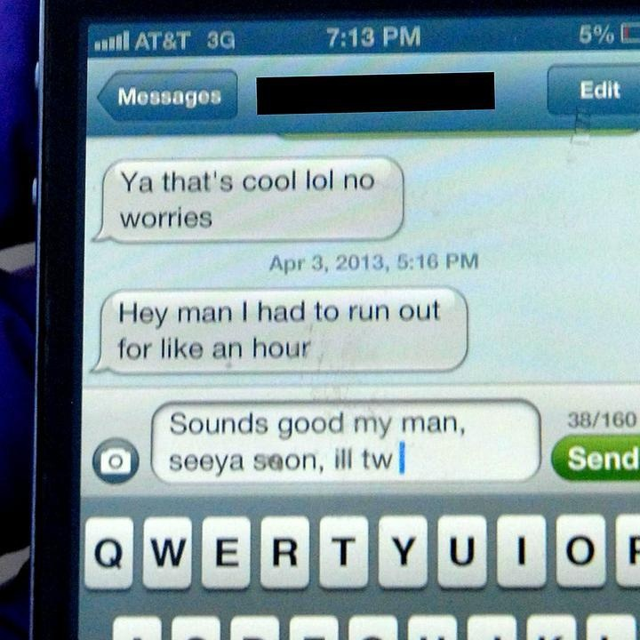 This is the last text sent by a 22-year-old Colorado man. While texting and driving, the driver lost control of the car - resulting in a fatal accident. Don't text and drive.