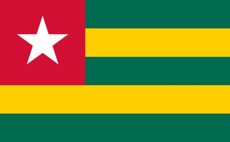 "The flag of Togo was officially adopted on April 27, 1960. It features a white ""Star of Hope"" on a field of red, and the red of that field is said to represent the blood shed by countrymen during the internal struggle for independence.     Green is symbolic of the country's agricultural wealth, while yellow is symbolic of mineral wealth. the five horizontal stripes represent the five regions of Togo."