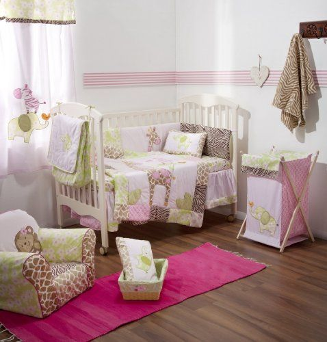 Cool! :)) Pin This & Follow Us! zBabyBaby.com is your Baby Gallery ;) CLICK IMAGE TWICE for Pricing and Info :) SEE A LARGER SELECTION  baby bedding at http://zbabybaby.com/category/baby-categories/baby-nursery/baby-crib-and-nursery-bed/ -  #baby #babyshower #babystuff #babygear #babybedding  -  [Pink Jungle and Safari] 4 Pc Crib Bedding Set Crib Bedding Collection « zBabyBaby.com