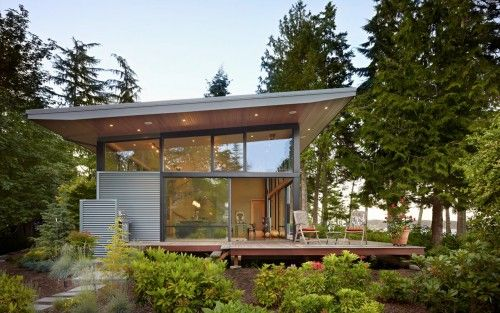 contemporary glass house skillion roof structure design