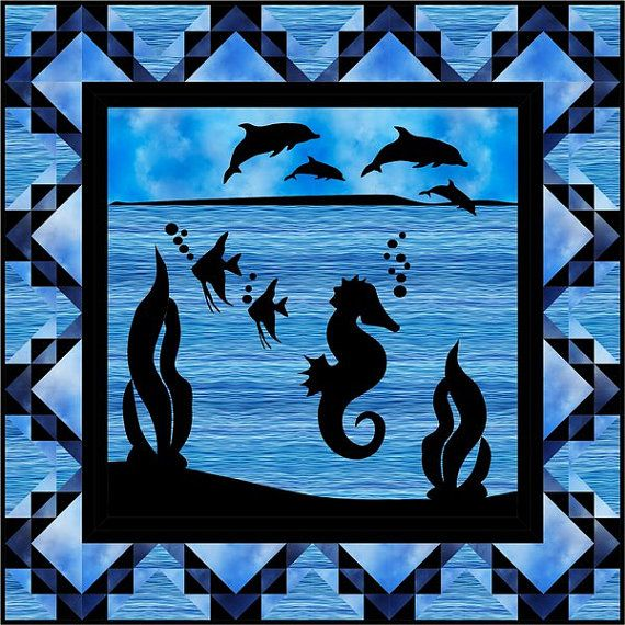 Ocean Mist Quilt Kit Dolphines and Sea Horse by Sew HappyFabrics on Etsy
