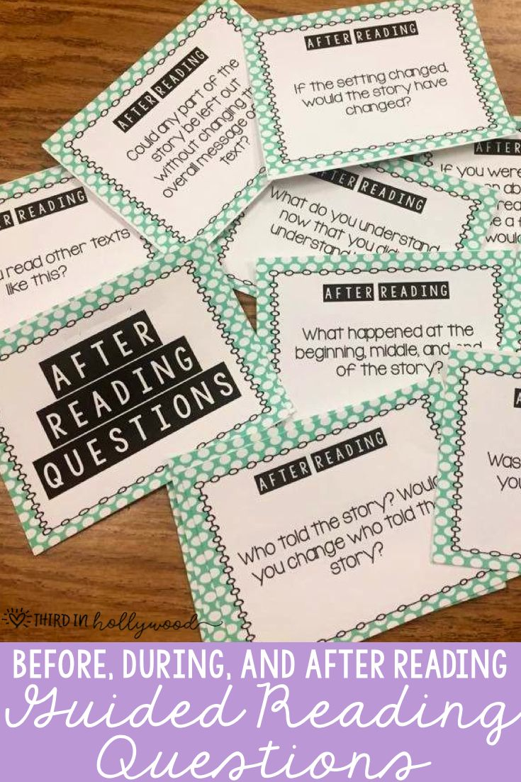 Guided Reading Questions-- Before, During, and After Reading!!