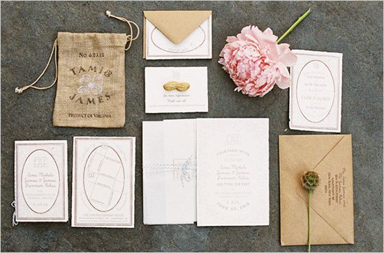 rustic wedding invites, pink