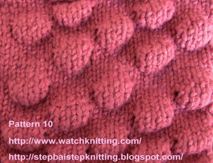(Knob Stitch) - Embossed Patterns - Free Knitting Patterns Tutorial - Wa...
