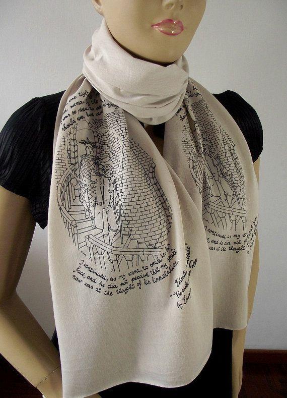 EDGAR ALLAN POE Literary Scarf  The Cask of by LiteraryArtPrints #bookscarf