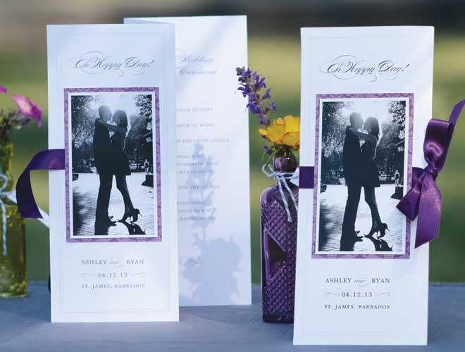 Invitations ceremony program purple and pearls weddings weddings