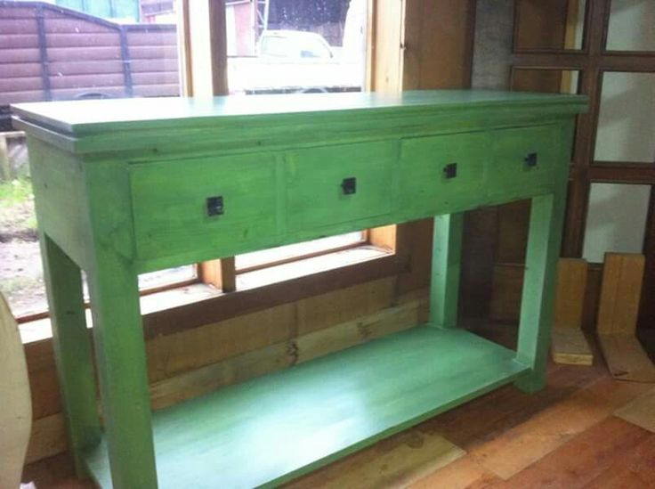 Arrimo verde efecto antiguo  4 cajones decapado verde  120 x 80 cm