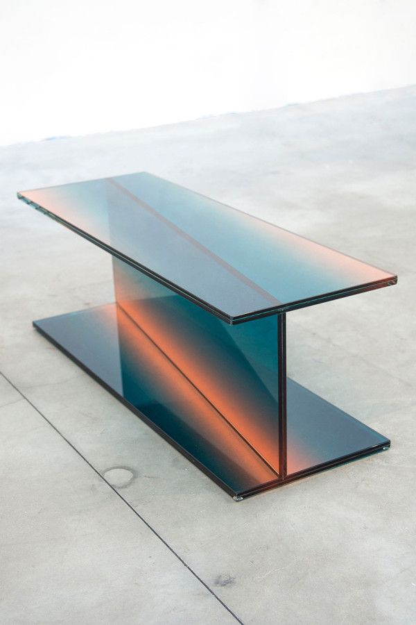 Latvian-born, Amsterdam-based designer Germans Ermics's project, entitled Shaping Colour, explores glass furniture with layers of gradient color.