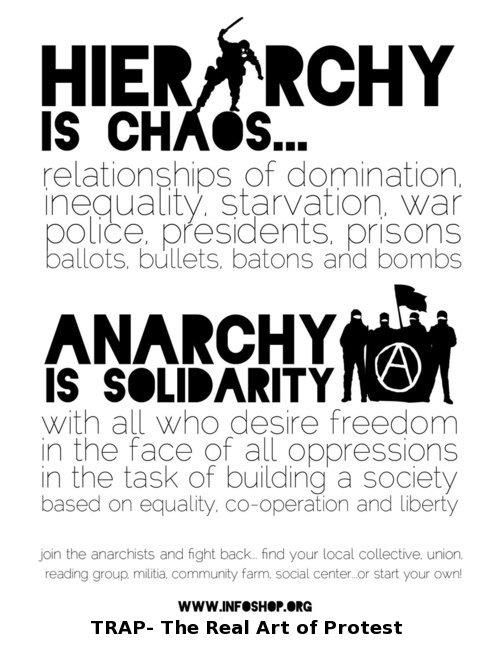 "Hierarchy is chaos... Anarchy is solidarity..."" (I love this quote, but I disagree that unions are anarchistic and non-hierarchical.)"