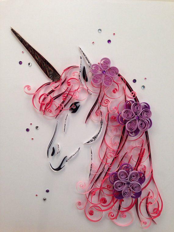 Quilling arte Unicornio Arte enmarcado por jgaCreations en Etsy                                                                                                                                                                                 Más