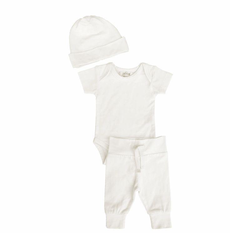 Organic Layette Bundle - Hat, Bodysuit, Basic Pant in Ivory
