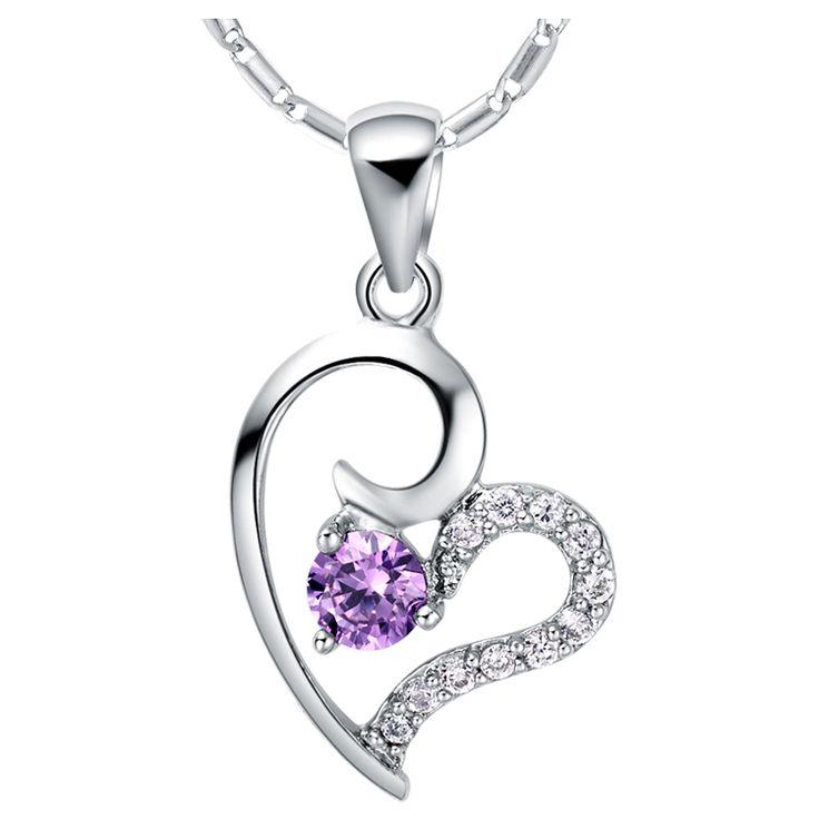 Хиты 2014 продажа мода в форме сердца ожерелья женщины летние аксессуары благородный сияющий циркон 18 К белое золото ожерелье N660