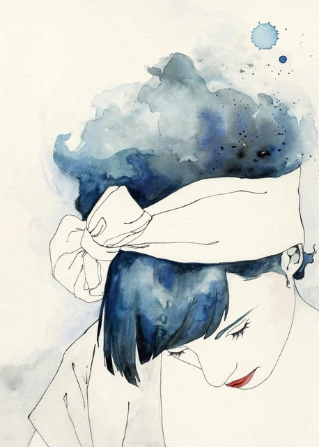 Nice assemblage of women done in watercolor.