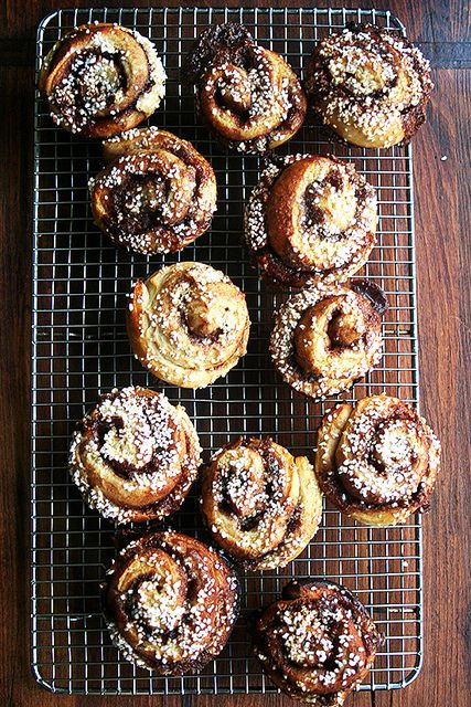 pearl-sugar topped cinnamon buns, cooling by alexandracooks, via Flickr