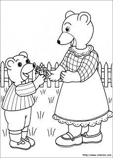 petit-ours-brun-coloriage-fete-maman-mere-enfant-bouquet-fleur