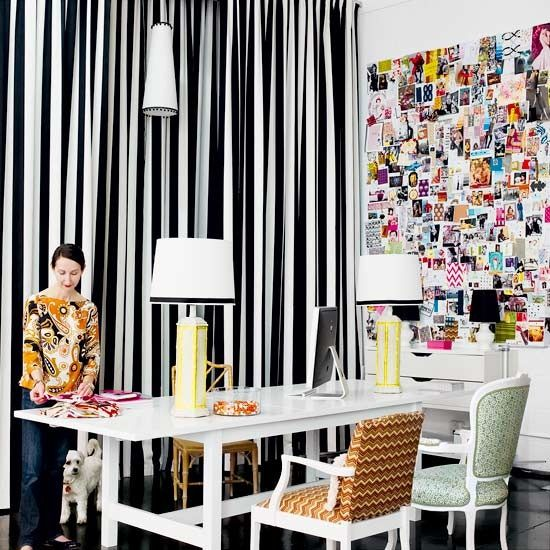 Wall of inspiration - love the stripe curtains too
