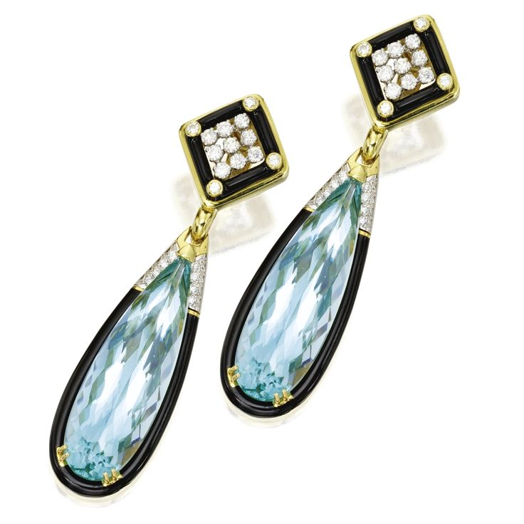 18 Karat Gold, Platinum, Aquamarine, Enamel and Diamond Pendant-Earclips, David Webb | lot | Sotheby's