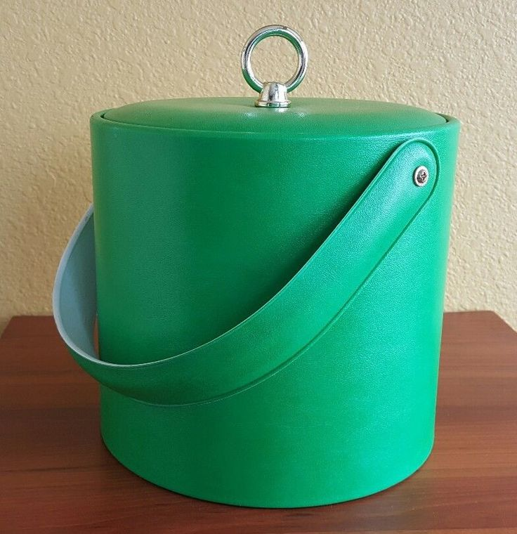 Vintage Mid-Century Green Clean Vinyl Retro Barware Ice Bucket 1960's-1970's #Unknown