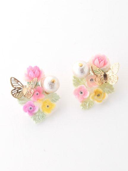 vintage flowerとコットンパール、蝶のピアス(ピアス)|Michu coquette(ミチュ コケット)|ウサギオンライン公式通販サイト
