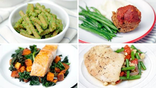Consider 4 of your 5 weekdays covered with easy to make meals featuring salmon, pesto pasta, parchment chicken, and meatloaf
