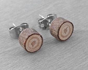 Arbre bague tranche bois boucles d'oreilles - feuillus Post boucle d'oreille de goujon en bois Chêne naturel avec des poteaux en acier chirurgicales