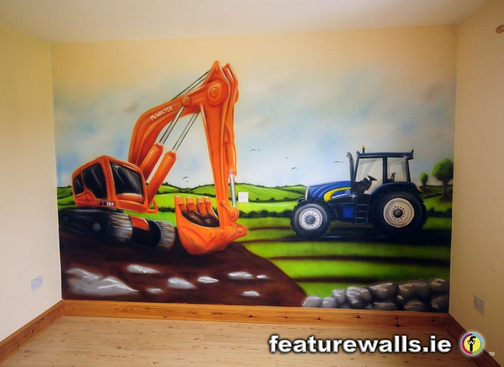 TRACTOR AND DIGGER MURALS FOR BOYS HAND PAINTED BY FEATUREWALLS.IE Part 71