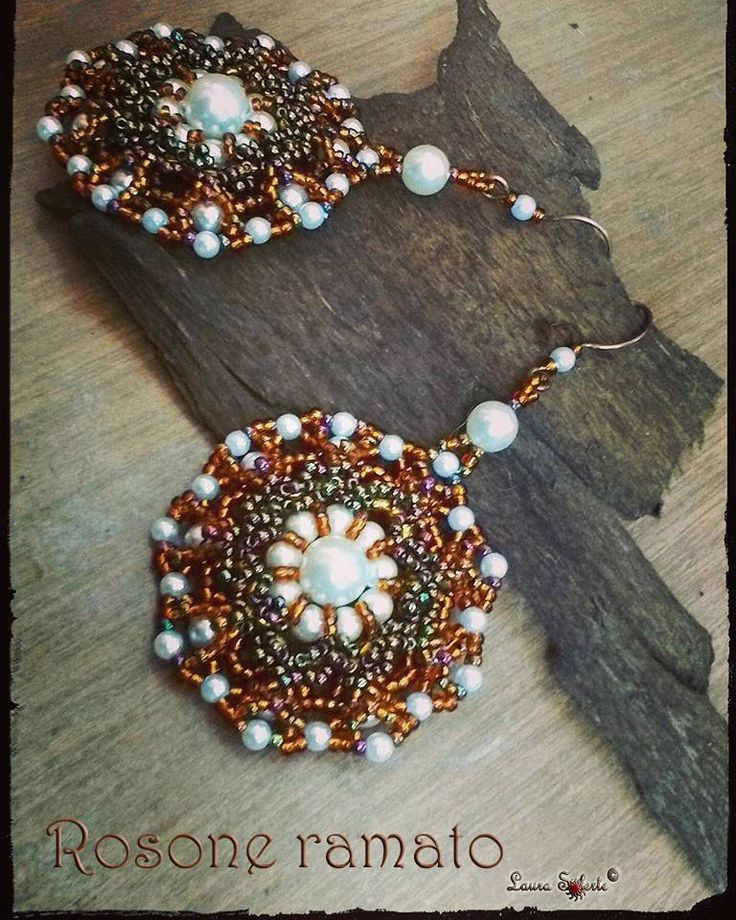 "Laura Solerte: Orecchini "" Rosone ramato "" New #earrings #earringsoftheday ""Rosone ramato"" #copyrighted #laurasolertegioielli #laurasolerte #handmadejewelry #handmadejewelryforsale #beading #beadwork #seedbeadstitching #seedbeads #rocailles #beads #orecchini #orecchinifattiamano #orecchinifattiamanoinvendita #perline #perle #tessituradiperline #design #unico #uniquejewelry #unique #gioiellounico"
