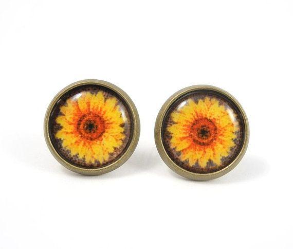 Sunflower Stud Earrings,Flower Earring Posts,Floral Jewelry,Yellow Orange Earrings,Garden Flower Earrings,Woodland Earring Posts (E099) on Etsy, $15.99