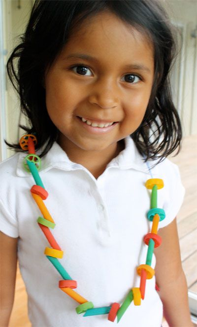 This would be a great craft! Colored Macaroni Necklace
