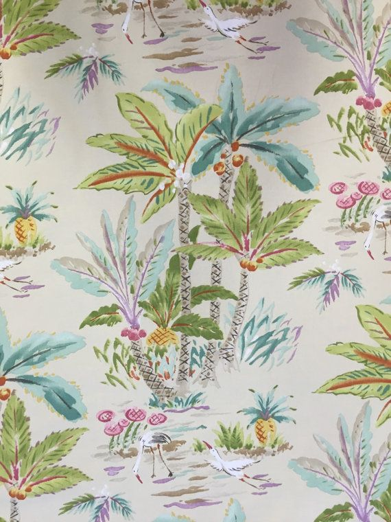 Tropical Oasis - Palm Tree - Tropical Bird - Bedding Fabric - Drapery Fabric - Pillow Fabric