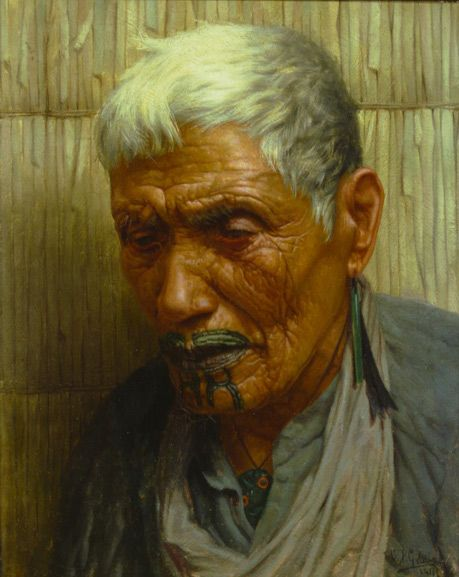 "By the artist known as ""Goldie"" in New Zealand C.F. Goldie 1870-1947  Wiripine Ninia - A Ngatiawa Chieftainess 1911  Oil on canvas  I have great admiration for Goldie's work! I grew up loving it!!"