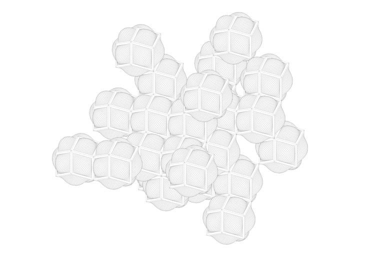 Axis Mundi - Fredrik Petersson Aggregation of rhombic dodecahedra with swelling skins