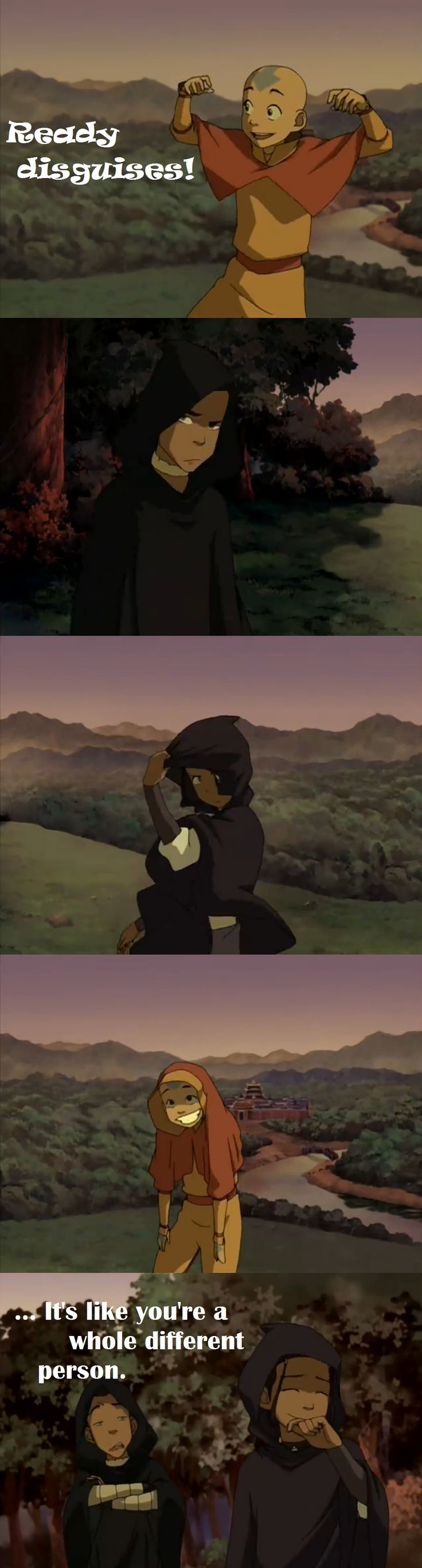 With all the undercover travel they had to do, it's really a surprise that Aang never had a suitable disguise handy.