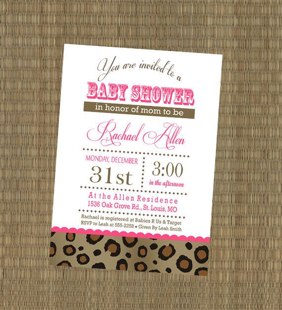 Printable Cheetah Baby Shower Invitation by EThreeDesignStudio, $15.00.. when i have a little girl i hope someone makes the baby shower invites JUST LIKE THIS!!!