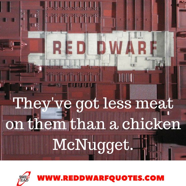 They've Got Less Meat On Them Than A Chicken McNugget  http://reddwarfquotes.com/less-meat-than-a-chicken-mcnugget