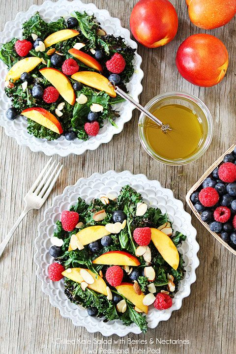 Grilled Kale Salad with Berries & Nectarines Recipe on twopeasandtheirpod.com Love this simple summer salad!