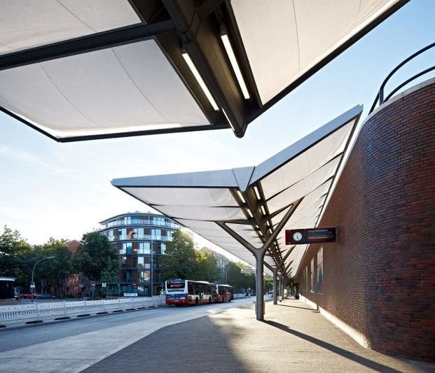 Bus Station Hamburg Barmbek - Membrane canopy of inflated ETFE foil cushions - Temme Obermeier | Membrane Architects