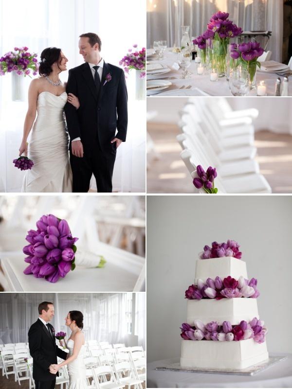 Modern Wedding :: whites + purples