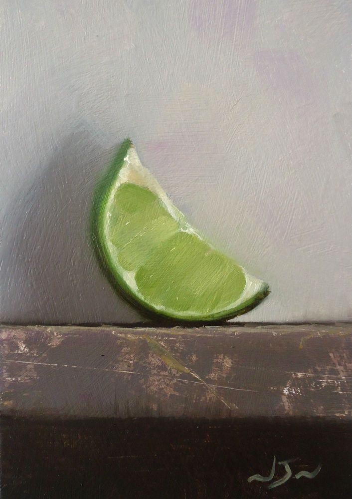 Original Oil Painting - Lime Wedge - Miniature Still Life Art - Nelson